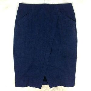 Ann Taylor LOFT Blue Faux Wrap Pencil Skirt Linen